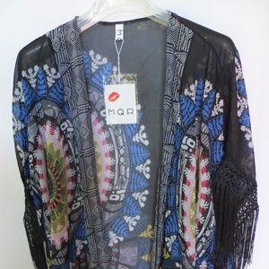 Sheer Kimono wrap Fringe Black